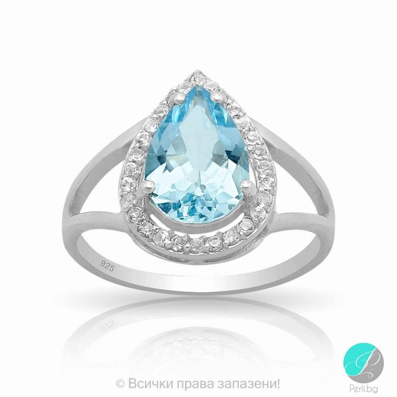 Jasinda - Сребърен пръстен със син Топаз и Циркони 888834600-Естествени камъни