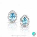 Jasinda - Сребърни обеци със син Топаз и Циркони 888834759-Естествени камъни