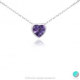 Ametist heart - Сребърна висулка сърце с Аметист 11813301-Естествени камъни