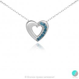 London heart - Сребърна висулка Сърце с Топаз Лондон 11813312