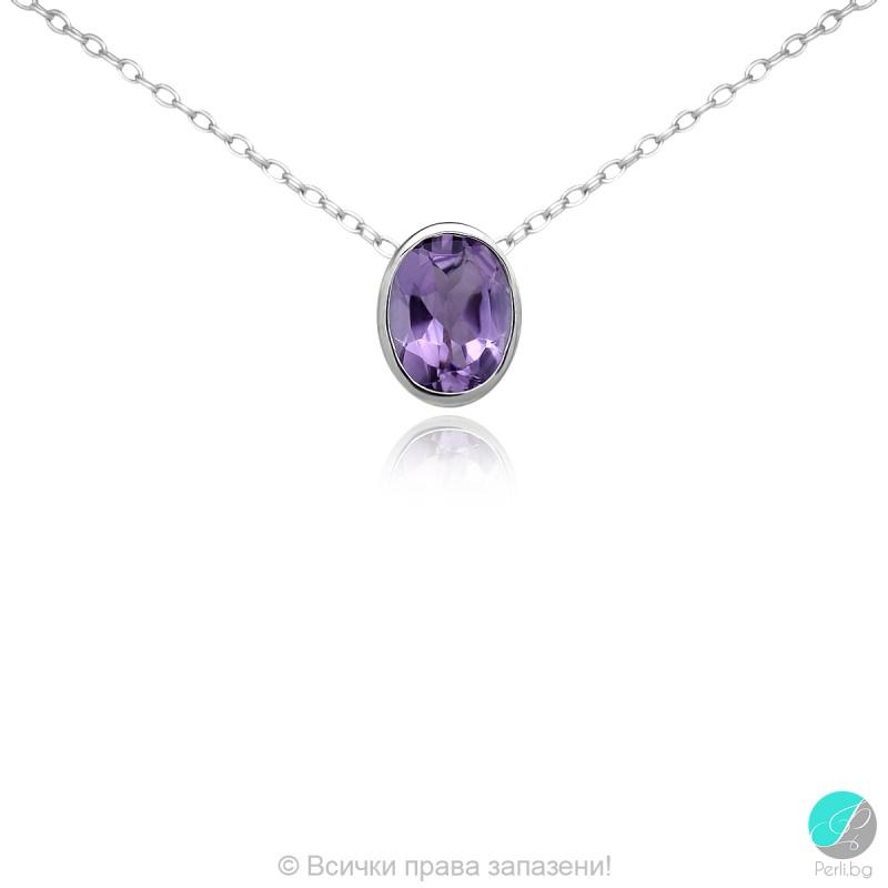 Lady - Сребърна висулка с Аметист 11813384-Естествени камъни