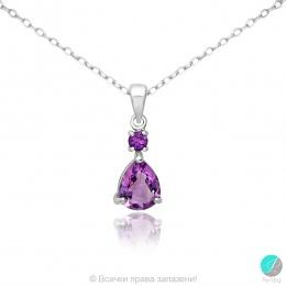Frieda 3 - Сребърна висулка с Аметист 11813462-Естествени камъни