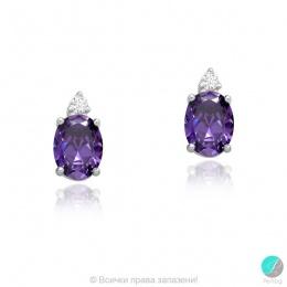 Violet - Сребърни обеци с цветни Циркони 70122170-Сребърни бижута