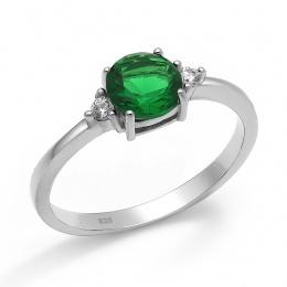 Abelie - Сребърен пръстен със Зелен Циркон 70123316G-Сребърни бижута