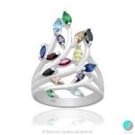 Alena - Сребърен пръстен с циркони mix 5370114148-Сребърни бижута