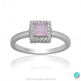 Evalyn 2 - Сребърен пръстен с Циркон цвят розов кварц 5370118683-Сребърни бижута