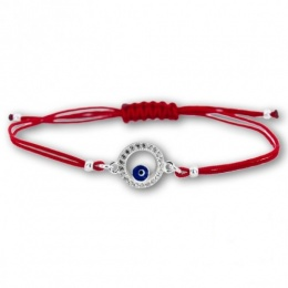 Lydie S  - Сребърна гривна с червен конец Окото на Назар - Шамбала s81517-Сребърни бижута