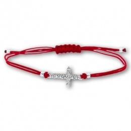 Lydie - Сребърна гривна с червен конец Кръст - Шамбала s81516-Сребърни бижута