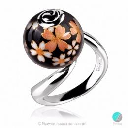 Luanny - Сребърен пръстен с Рисувано керамично топче 2215sp-Сребърни бижута