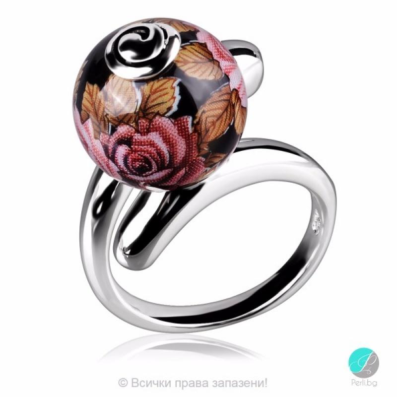 Layne - Сребърен пръстен с Рисувано керамично топче 2222sp-Сребърни бижута
