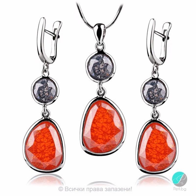 Luella - Сребърен комплект - Висулка и обеци с Кварц 2237S-Естествени камъни