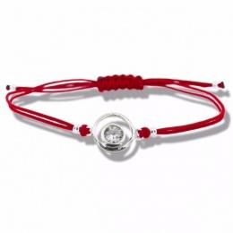 Lydie - Сребърна гривна с червен конец - Шамбала s8155-Сребърни бижута