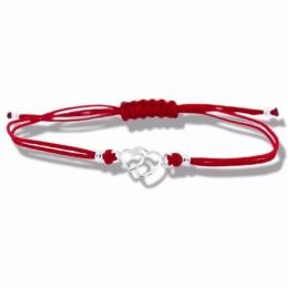 Lydie - Сребърна гривна с червен конец Сърца - Шамбала s8156