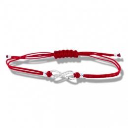 Lydie - Сребърна гривна с червен конец Безкрайност - Шамбала s8157-Сребърни бижута