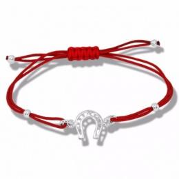 Lydie - Сребърна гривна с червен конец - Подкова s8158-Сребърни бижута