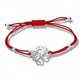 Lydie - Сребърна гривна с червен конец Детелина - Шамбала s8150-Сребърни бижута