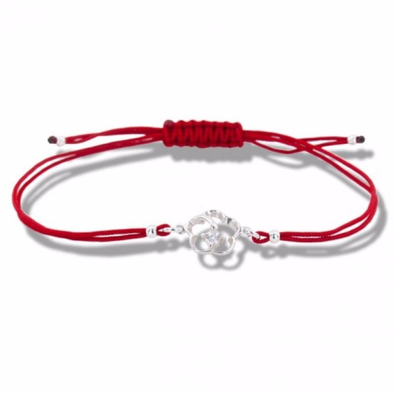 Lydie - Сребърна гривна с червен конец Цвете - Шамбала s1815-Сребърни бижута