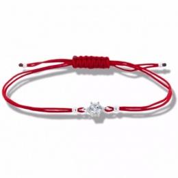 Lydie - Сребърна гривна с червен конец - Шамбала s81511-Сребърни бижута