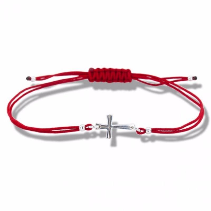 Lydie - Сребърна гривна с червен конец Кръст - Шамбала s81512-Сребърни бижута