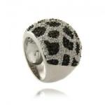 Jemma - Сребърен пръстен с бели, черни и кафяви циркони s1260-Сребърни бижута