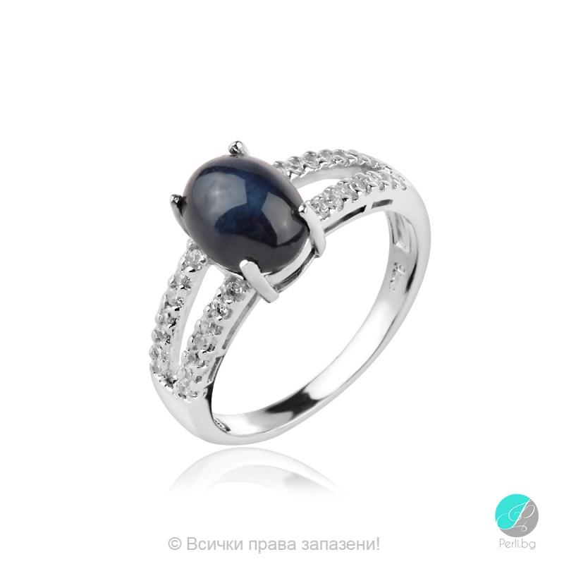 Berny - Сребърен пръстен със Звезден Сапфир и циркони 1051A-