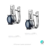 Berny - Сребърни обеци със Звезден Сапфир и циркони 1080A-Естествени камъни
