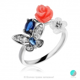 Kamelia - Сребърен пръстен с Циркони 1307A-Сребърни бижута