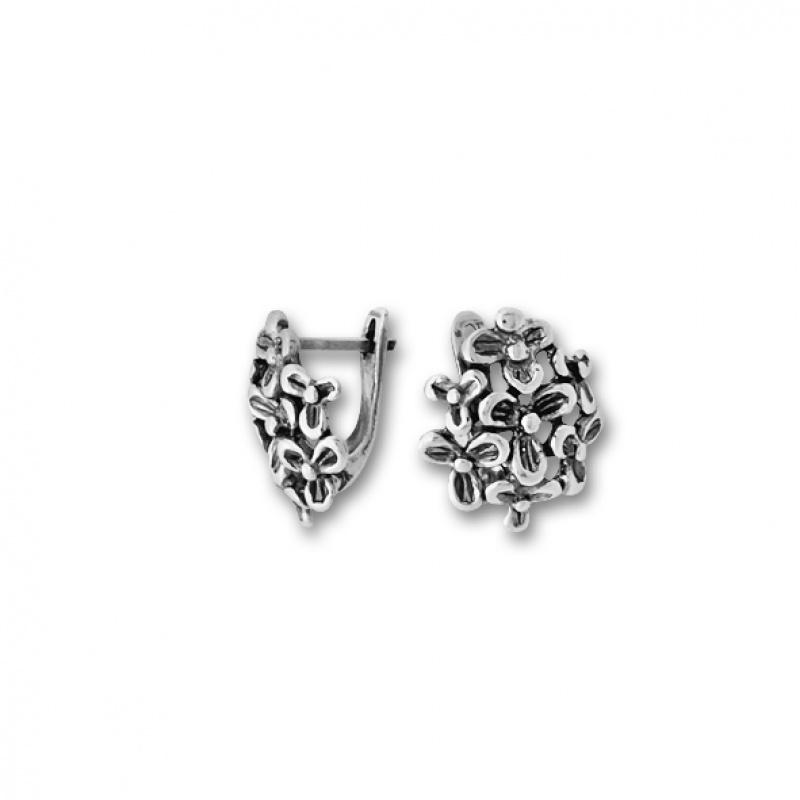 Gillian - Сребърни обеци Цветя без камък 133978-Сребърни бижута