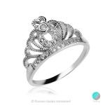 Crown 3 - Сребърен пръстен Корона с Циркони 13500A-Сребърни бижута