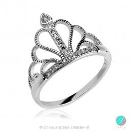 Crown 3  -  Сребърен пръстен Корона с Циркони 1350A-Сребърни бижута