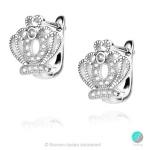 Crown 4 - Сребърни обеци Корона с Циркони 1351A2-Сребърни бижута