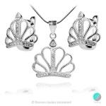 Crown 3 - Сребърна висулка Корона с Циркони 1352A-Сребърни бижута