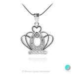 Crown 4 - Сребърна висулка Корона с Циркони 1352A2-Сребърни бижута