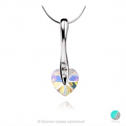 Semana 2 - Сребърно колие сърце с кристал Swarovski Aurora Borealis AB 10 мм 62023701-Кристали