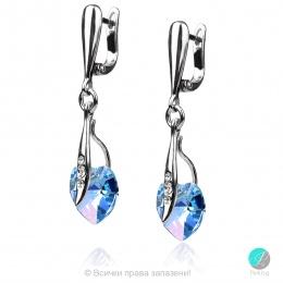 Semana 2 - Сребърни обеци сърце с кристал Swarovski Aquamarine AB 10 мм 62024123-Кристали