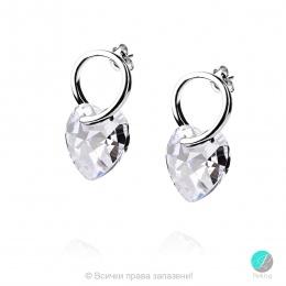 Elzira - Сребърни обеци сърце с кристал Swarovski Moonlight 16 мм 620250101-Кристали