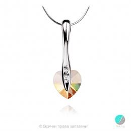 Semana 2 - Сребърно колие сърце с кристал Swarovski Golden Shadow 10 мм 62025401-Кристали