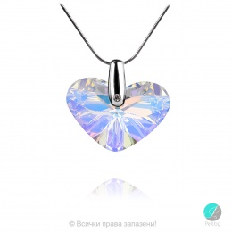 Bernarde 2 - Сребърно колие сърце с кристал Swarovski Aurora Borealis 27 мм 62601313-Кристали