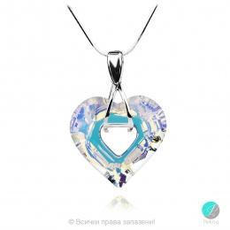 Aby - Сребърно колие сърце с кристал Swarovski Aurora Borealis 26 мм 626211Z-Кристали