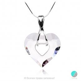Aby 2 - Сребърно колие сърце с бял кристал Swarovski 26 мм 626214Z