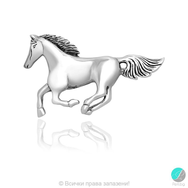 Lusian 2 - Сребърна брошка Конче 5470620045-Сребърни бижута