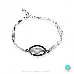 Saulin - Сребърна гривна верижка Сърце с Циркони 1110iv-Сребърни бижута