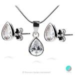 Alexandrea - Сребърен комплект висулка и обеци с циркони 1070a-