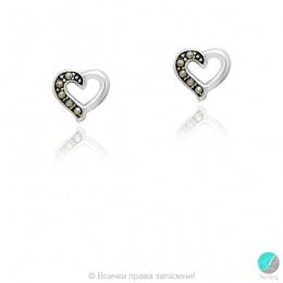 Callisto - Сребърни обеци с Марказит Сърце 555655739
