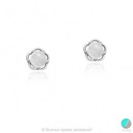 Ariadna - Сребърни обеци Цвете с Лунен камък 607815799