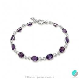 Emmie 2 - Сребърна гривна с аметист 888833423-Естествени камъни