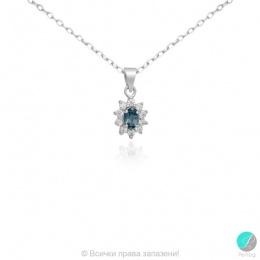 Fujiko - Сребърна висулка с Лондон блу Топаз и Циркони 888836085A-Естествени камъни