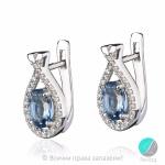 Sabrina - Сребърни обеци с Топаз Лондон и Циркони 3450so-Естествени камъни