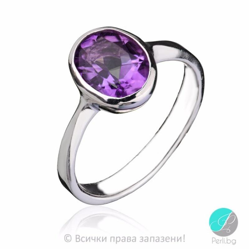 Lady - Сребърен пръстен с Аметист 11813379-Естествени камъни