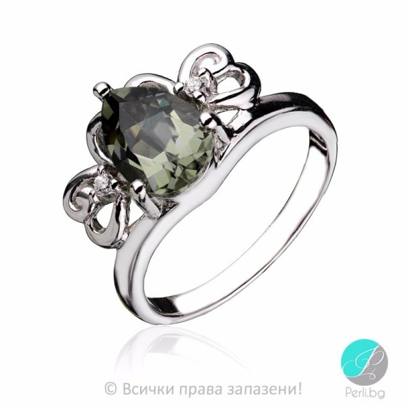 Luna - Сребърен пръстен с Турмалин и Циркони 1950S-Естествени камъни